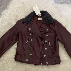 Maroon fleece collar faux leather jacket